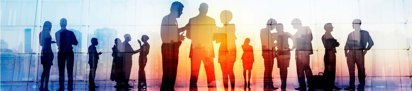 Business people silhouettes at a meeting